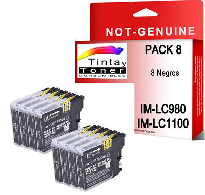 8 CARTUCHOS COMPATIBLES NEGROS Non Oem BROTHER LC980 LC1100 DCP-197C DCP197C
