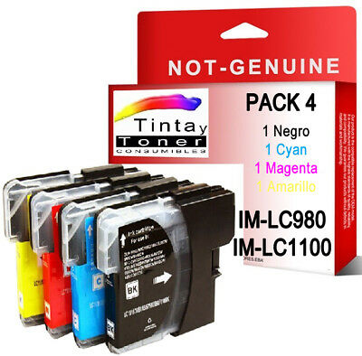 4 CARTUCHOS COMPATIBLES Non Oem BROTHER LC980 LC1100 DCP-197C DCP197C