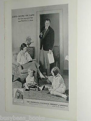 1931 PRUDENTIAL Insurance advertisement, family photo, neat old tin toy car