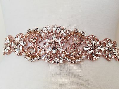 Wedding Dress Sash Belt - ROSE GOLD Crystal Pearl Sash Belt = 19 inch long