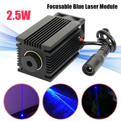 445nm 2.5W 2500mW Blue Laser Engraving Module dot focusable Cutter Engraver 12V