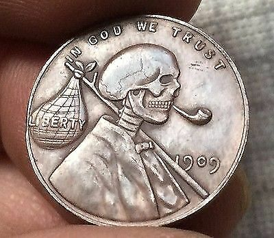 One 1 Ein Cent Münze - 1909 - Skull Special Edition USA RARE COLLECTABLE
