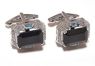 Natural Onyx & Blue Topaz Gem Stone 925 Sterling Silver Men's Cufflink Jewelery