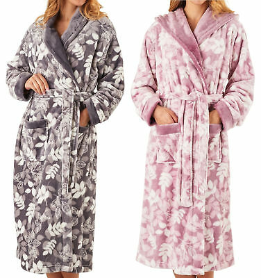 072da8720b Slenderella Ladies Shawl Collar Dressing Gown Super Soft Leaf Print Bathrobe