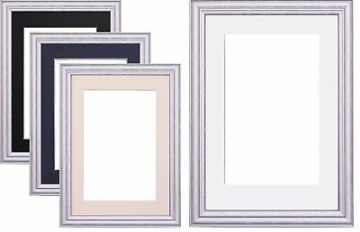Silver Photo Picture Frame Poster Frame & Mount White Black Ivory Blue