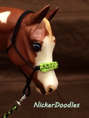 Model horse rope halter & lead rope-Braided noseband!-Traditional size (1:9)