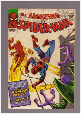 Amazing Spider-Man # 21  The Human Torch & the Beetle ! grade 8.0  scarce book !