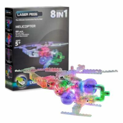 New Laser Pegs 8-in-1 Helicopter Light Up Construction Set Building Official