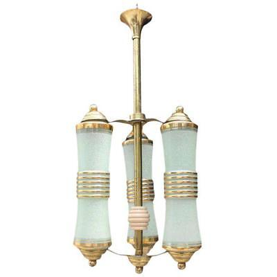 Vintage art deco French 1940s 3 light solid bronze chandelier lantern