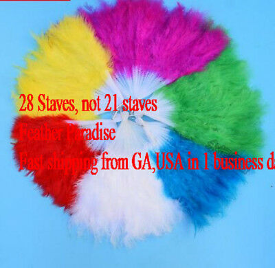 28 Staves Marabou Fluffy Feather Fans 9 Colors! GA, USA