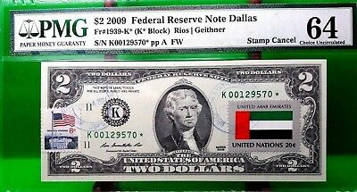 Money Us $2 Dollars Federal Reserve Star Note 2009 Flag Of United Arab Emirates