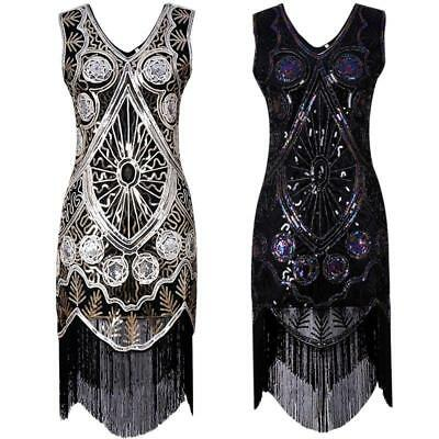 Vintage 1920s Flapper Great Gatsby Sequin Tassel Cocktail Party Evening Dress