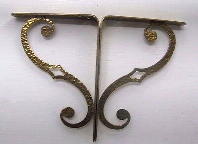 "Vintage PAIR HAMMERED BRASS Plated ORNATE WALL Shelf  BRACKETS 7"" x 5"" x 1"""