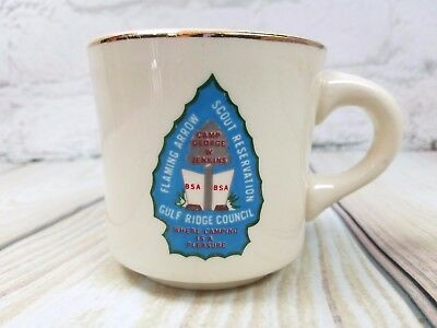 VTG Flaming Arrow Mug Boy Scouts BSA Gulf Ridge Council Camp George Jenkins Cup