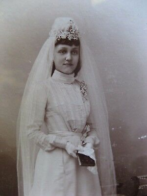antique framed original photo~pensive German Bride~late 1800's~1900~Dusseldorf~