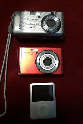 Lot 2 Camera Cannon Powershot A410 Polaroid iE826 memory card parts IPod 4gb