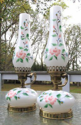 Shabby Vintage Pair Cottage White Glass Hand Painted Pink Roses Hurricane Lamp