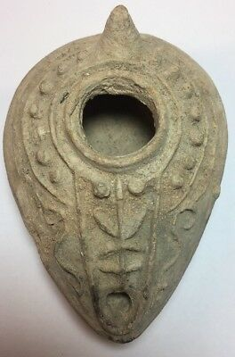 Ancient Byzantine Terracotta Oil Lamp with design Circa 600-700 AD