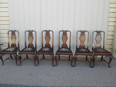 58556  Set of 6 Antique Mahogany Dining Chair s with needlepoint seat