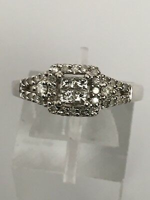 ae261614fb67e 10K WHITE GOLD Princess Cut and Round Natural Diamond Engagement Ring Size  6.75