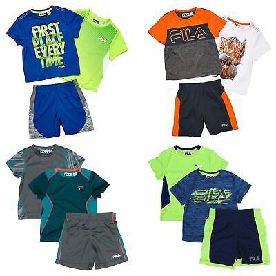 FILA 3 Piece Active Set for Boys - 2 Short Sleeve T-Shirts, 1 Short
