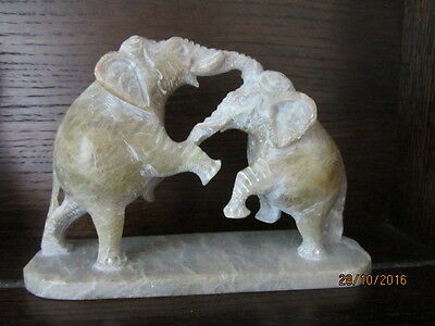 "1 x HEAVY STONE FIGHTING ELEPHANT ORNAMENT - TOTAL HEIGHT Approx. 4 1/2"" high"