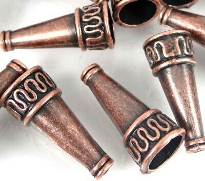 10 Antique Copper Pewter Cone Beads Caps 22x10mm