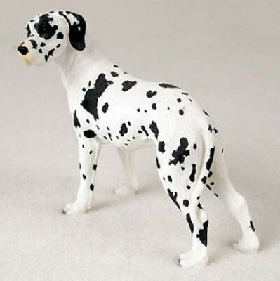 GREAT DANE (Harlenquine uncropped) DOG Figurine Statue Hand Painted Resin