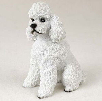POODLE WHITE  DOG Figurine Statue Hand Painted Resin Gift Pet Lovers Sport Cut