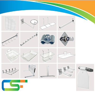 Gridwall  Mesh Panel  Chrome Shop Display Arms  Accessory Retail Store
