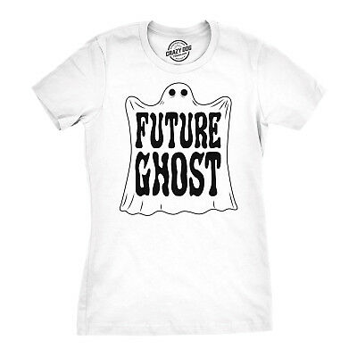 Womens Future Ghost Funny Halloween Costume Tee Spooky Novelty T shirt (White)