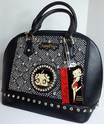 Betty Boop Bling Faux Leather Purse Handbag Satchel Official Licensed Black #1