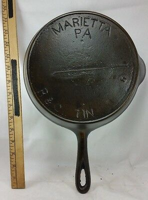 Vintage 1800's R & Co Marietta PA #7 Gate Mark 7 IN Cast Iron Skillet Restored