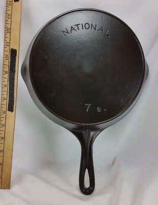 Vintage National Wagner Ware #7 B ARCH LOGO Cast Iron Skillet Seasoned Heat Ring