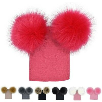 Winter Double Hair Bulb Knitted Cap Sharp Hat for Children Solid Warm Wool Hat