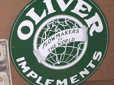 OLIVER - Plowmakers for The World --- ROUND SIGN -- Shows Their Early WORLD LOGO