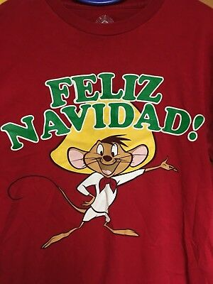 SPEEDY GONZALES Feliz Navidad! T-shirt Medium 38/40 Red LOONEY TUNES Christmas