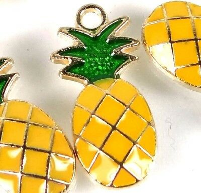 6 Pineapple Charms Gold Plated Enamel Pendant Charm 24x10mm