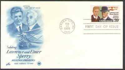 US. C114. 39c. Lawrence Sperry (1892-1993) & Father Elmer, Art Craft FDC. NH1985