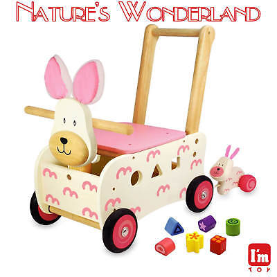 Walk & Ride BUNNY RABBIT Shape Sorter & Baby Toy - I'm Toy Eco sustainable wood