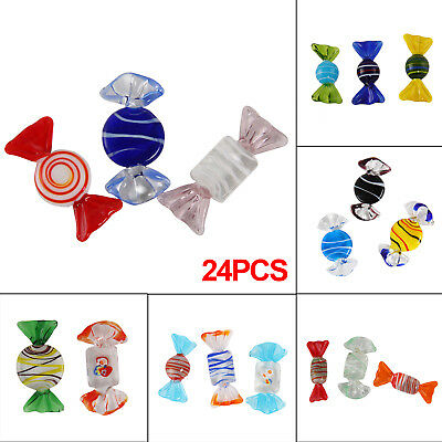 24pcs Vintage Murano Glass Sweets Wedding Party Candy Ornaments Decorations Gift