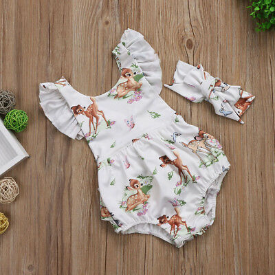 Newborn Baby Girls Sleeveless Christmas Elk Romper+Headband Christmas Outfit Hot