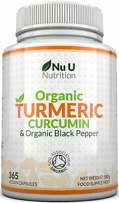 Organic Turmeric Curcumin 365 Capsules 600mg High Strength Organic Black Pepper