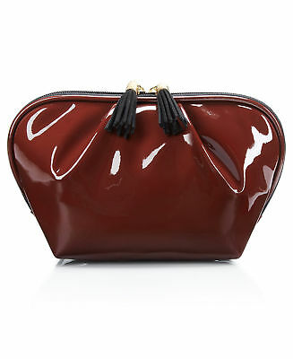 MACY'S patent faux leather red burgundy makeup hand bag clutch cosmetic case NEW