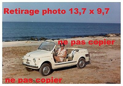 Retirage Photo : COPIE REPRO Fiat 600 GHIA JOLLY voiture de plage capote enlever