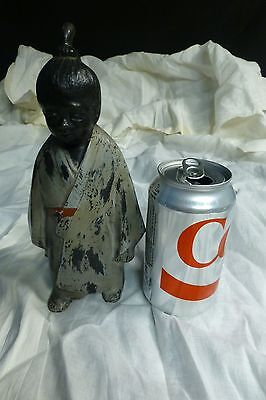 19Th Century Japanese Bronze Statue Cold Painted Artist Signed 3 Lbs 9.8 Ozs.
