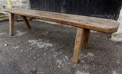 "Antique Welsh long OAK PIG BENCH 5ft 6"" (168cms) seat side hall table Rustic"