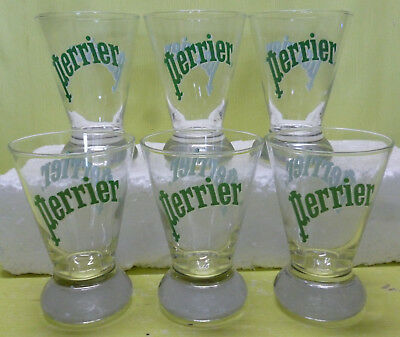Lot 6 Petits Verres Perrier , Transparents , 15 Cl , Vpr97 *