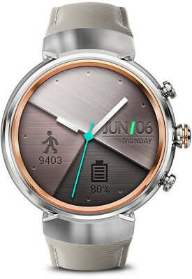 ASUS ZenWatch 3 Smart Watch (Silver with beige Leather Strap)