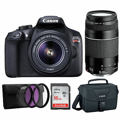 Canon EOS Rebel T6 18MP DSLR 18-55mm, 75-300mm Lenses, Bonus SD card, and WiFi